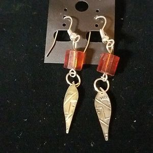Indian Brown Bead Feather Earrings